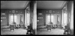 Drawing room interior at photographer William Williams and Lydia Myrtle Williams' house, Royal Terrace house, Kew?], Dunedin, Otago Region