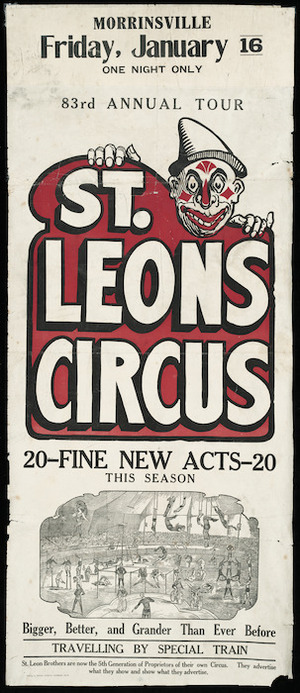 Morrinsville, Friday, January 16. One night only. 83rd annual tour. St Leons Circus. 20 fine new acts this season. [1925].