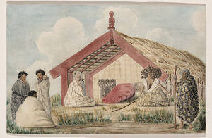 "[Gilfillan, John Gordon?], 1839-1875 :Sketch at Maurea on the Waikato. Tangi over the deceased sister of the chief ""Takere"" / J.G. [1860s or early 1870s?]"