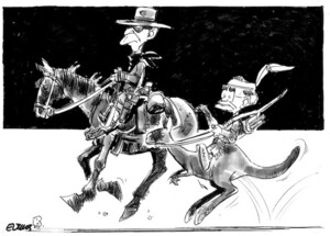 Evans, Malcolm, 1945- :[The Lone Ranger and Tonto.] New Zealand Herald, 4 December, 2002.