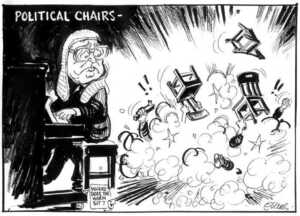 Evans, Malcolm, 1945- :Political chairs - !! * !! * New Zealand Herald, 21 August 2002.