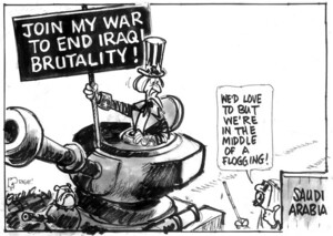 Evans, Malcolm, 1945- :Join my war to end Iraqi brutality! New Zealand Herald, 11 March, 2003.