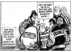 Evans, Malcolm, 1945- :Hey Reuben - we've all just had our bonus offers doubled mate!! New Zealand Herald, 30 July 2003.
