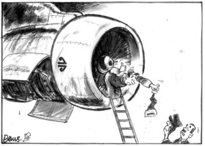 Evans, Malcolm, 1945- :[Santa sucked int aircraft engine] New Zealand Herald. 10 December, 2002.