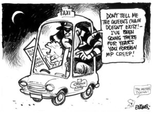 Evans, Malcolm, 1945- :Don't tell me the Queen's Chain doesn't exist! - I've been going there for years you foreign MP creep! New Zealand Herald, 4 August 2003.