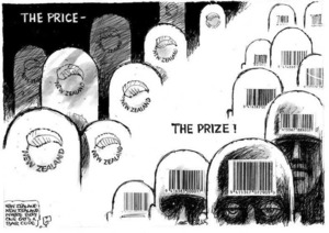 Evans, Malcolm 1945- :The Price - The Prize! New Zealand Herald, 24 April 2001.
