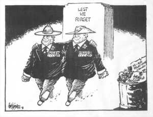 Hubbard, James 1949- :Lest We Forget. NZ - Aus. relations strained. World Cup decisi(on). The Dominion, 25 April 2002.