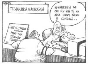 Hubbard, James 1949- :Te Wananga o Aotearoa. Free cellphone with every Mahi Ora tertiary course. 'No coverage? We can fly him to an area where there is coverage..' The Dominion, 10 April 2002.