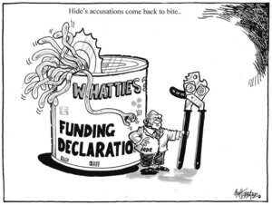 Hide's accusations come back to bite... 'Whatties - Funding declaration.' 24 October, 2008.