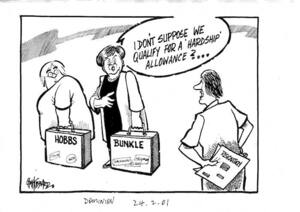 """""""I don't suppose we qualify for a 'hardship' allowance?..."""" The Dominion, 24 February 2001"""