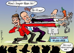 """'Arm of the law play-off'. """"Mine's longer than his!"""" """"URG! No it's not!"""" """"This isn't reassuring me!"""" 30 June, 2008"""