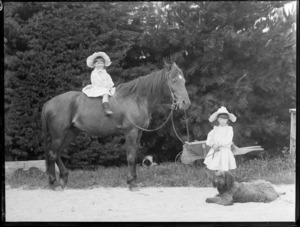 Two unidentified young girls, one of whom is sitting on the horse that the other is holding, including two dogs