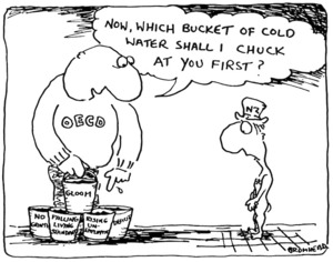Bromhead, Peter, 1933- :Now, which bucket of cold water shall I chuck at you first? Auckland Star, 30 May 1983.