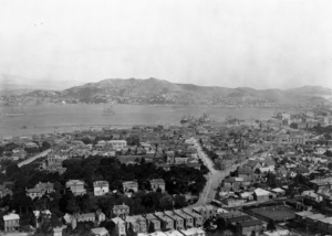Part 3 of a 4 part panorama overlooking Thorndon, Wellington