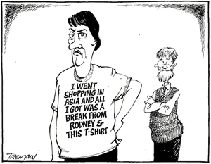 Tremain, Garrick, 1941- :I went shopping in Asia and all I got was a break-down from Rodney & this T-shirt. Otago Daily Times, 3 June 2005.