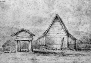 [Swainson, William, 1789-1855 :Thompson's (Young Rauperaha) new house, Otaki - [1849?]