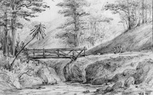 Swainson, William, 1789-1855 :Mungaroa Bridge. Jan. 1849.