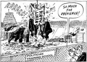 Nisbet, Al 1958- : Politician Training School. Dirty Linen. 'RRRRRR!' 'So much for obedience!' Christchurch Press, 18 July 2001.