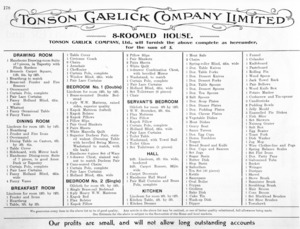 Tonson Garlick Co :8-roomed house. Tonson Garlick Company Ltd., will furnish the above as complete as hereunder, for the sum of £ [ca 1910].