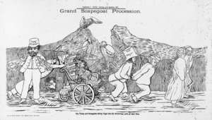 Bock & Cousins :Grand scapegoat procession. The Tories and Renegades taking Vogel into the wilderness with all their sins. Bock & Cousins machine litho. Wellington [E. H Grigg at the Truth Office] 1887.