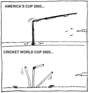 Nisbet, Al, 1958- :America's Cup 2003... Cricket World Cup 2003... Christchurch Press,[ca 14 March, 2003].