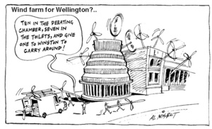 "Wind farm for Wellington?.. ""Ten in the debating chamber, seven in the toilets, and give one to Winston to carry around!"" 7 June, 2005"