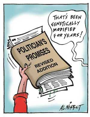 Nisbet, Alistair, 1958- :Politician's Promises. Revised Edition. 'That's been genetically modified for years. Christchurch Press. 6 July, 2002.