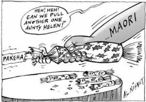 Nisbet, Al 1958- :'Heh! Heh! Can we pull another one, Aunty Helen?' Pakeha. Maori. Christchurch Press, 25 November 2000.