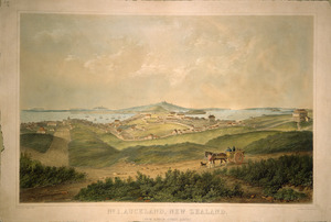 Hogan, Patrick Joseph, 1804-1878 :No. 1, Auckland, New Zealand. (From Hobson Street South). Drawn by P. J. Hogan, 1852. Lith. by Standidge & Co., Old Jewry [London, 1852]