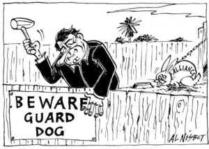 Nisbet, Al 1958- : Beware Guard Dog. Alliance. Christchurch Press. 16 June 2001