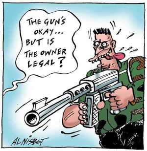 Nisbet, Alistair, 1958- :'The gun's okay... but is the owner legal?' Christchurch Press. ca. 26 August 2002.
