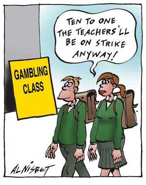 Nisbet, Alistair, 1958- :'Ten to one, the teachers'll be on strike anyway.' Christchurch Press. ca. 21 August 2002.