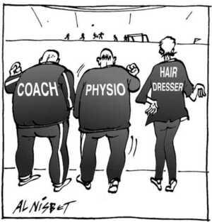Nisbet, Alistair, 1958- :Coach. Physio. Hairdresser. Christchurch Press. 20 June, 2002.