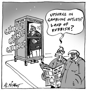 Nisbet, Alistair, 1958- :'Upsurge in gambling outlets? Load of rubbish?' Christchurch Press. ca. 13 August 2002.