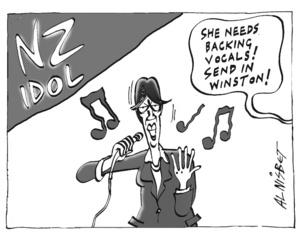 "NZ IDOL. ""She needs backing vocals! Send in Winston!"" 7 May, 2004"