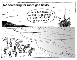 """New Zealand searching for more gas fields... """"Let's try drilling on the foreshore! I heard it's rich in methane!"""" 10 March, 2004"""