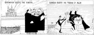 Brockie, Bob, 1932- :Gorbachev greets his enemy ... Reagan greets his friend & ally. [3 April 1987].