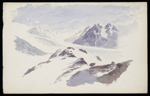 Hodgkins, William Mathew, 1833-1898 :[The Great Tasman Glacier from the slopes of Mount Cook. February 1882. After William Spotswood Green? 1885?]