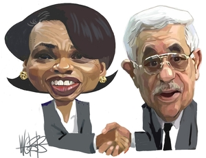 Webb, Murray, 1947- :Condoleezza Rice and Mahmoud Abbas [ca 8 February, 2005]