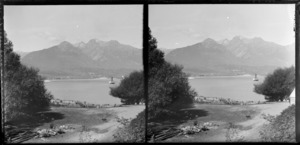 View over Lake Wakatipu from Kinloch, Queenstown-Lakes District, Otago Region, including ferry ['Ben Lomond'?] on lake