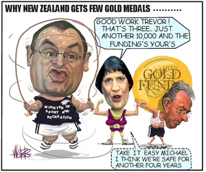 "Why New Zealand gets few gold medals. ""Good work Trevor! That's three... Just another 10,000 and the funding's your's."" ""Take it easy Michael, I think we're safe for another four years."" 28 March, 2006."