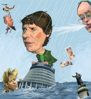 Webb, Murray, 1947- :Helen Clark, Don Brash, Lianne Dalziel and Michael Cullen [ca 23 February 2004]