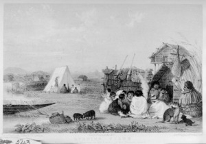 Angas, George French, 1822-1886 :Evening scene. Encampment at Maurea on the banks of the Waikato. / George French Angas del. Pubd by Smith, Elder & Co., London. Day & Haghe, lithrs to the Queen. 1847.