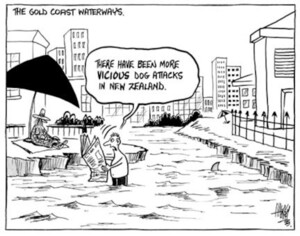 """The Gold Coast waterways. """"There have been more vicious dog attacks in New Zealand."""" 11 February, 2003."""