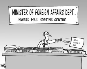 Minister of Foreign Affairs Dept. Inward mail sorting Centre, Very urgent, urgent, important, unimportant, not even read. 10 October, 2007