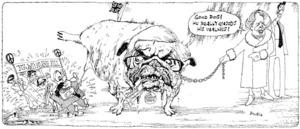 Brockie, Bob, 1932- :Good dog! He really enjoys his walkies! N. Z. Anti-Nuke Bill. [1985?]