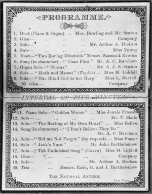 Town Hall Feilding :Local and Instrumental Concert, Friday Aug. 17, 1883. Programme and ticket. [Inside].