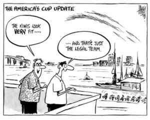 "The America's Cup update. ""The Kiwis look VERY fit....."" ""....and that's just the legal team."" 18 December, 2002."
