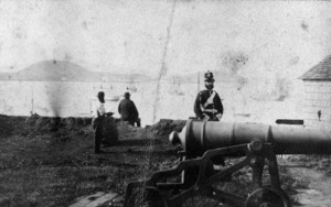 Soldier and cannon, Fort Britomart, Auckland