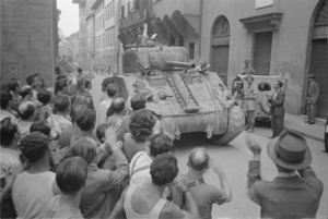 Kaye, George, b 1914: New Zealand tank being greeted by citizens of Florence